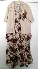 "Lady Dorby Women Short Sleeve Jacket/ Sleeveless 51"" Long Printed Dress Set 2X"