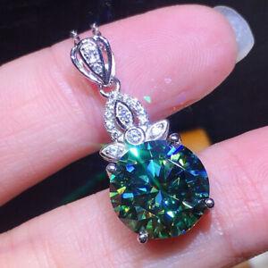 Handmade 10MM Round Blue Green Moissanite Gemstone Silver Chain Necklace Pendant