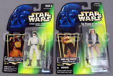 Star Wars PotF AT-ST Driver & Rebel Fleet Trooper Green Holo Cardback Kenner NIP