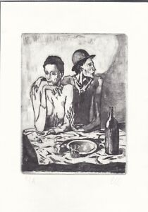 PABLO PICASSO Original Vintage old Etching Lithograph Signed