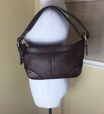 COACH CHOCOLATE BROWN HOBO Leather East West Purse Handbag Shoulder Bag F12321
