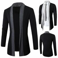 Luxury Men's Casual Slim Fit Long Sleeve Knitted Cardigan Pocket Trench Coat New
