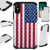 FusionGuard For iPhone 6/7/8 PLUS/X/XR/XS Max Phone Case CROSSHATCH US FLAG