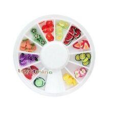 120 PCS 3D Fruit Fimo Nail Art Conseils UV Décoration roue Acrylique