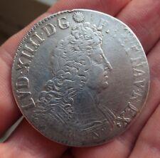 Louis XIV écu aux 8 L en argent 1704 atelier B - réformé - ref307