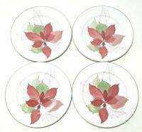 Set of 4 VTG Salad Plates Block Spal Watercolors Poinsettia Christmas Portugal