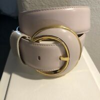 "Vintage 1980s Liz Claiborne Pale Pink Genuine Leather Waist Belt Sz S 24""-27"""