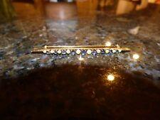 Antique 14kt Yellow Gold Edwardian Brooch Pearl & Sapphire Bar Pin EUC