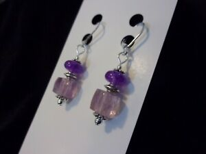 925 Natural Ametrine Nuggets & Natural Purple Amethyst Leverback Earrings