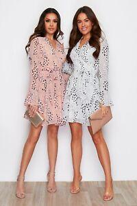 Womens Ladies Wrap Over Dress  Chiffon  Mini Dress Bell sleeves Pink White