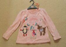 Little Girls Top Pink Christmas Top Reindeer Polar Bear Penguins NWT S2-3