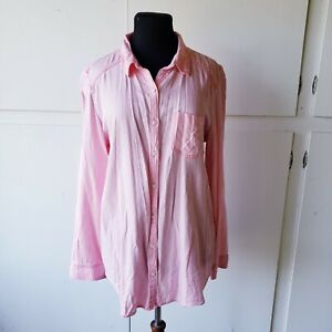 Rubbish Women Pink Button-Down Shirt Size L Rayon Soft Flowy Long Round Hem