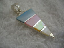 Sterling Silver Mother of Pearl Shell Triangle Pendant multi-coloured