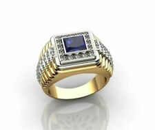Fine Jewelry 18 Kt Solid Yellow Gold Blue Sapphire & CZ Men'S Ring Size 9,10,11