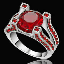 Red Ruby Gem Engagement Ring Womens Jewelry White Rhodium Plated Size 7
