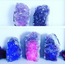Amethyst Crystal Cluster Lamps // Pink/Blue or Purple LED Candle plus Bulb