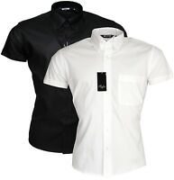 Relco Short Sleeve Black & White Button Down Collar Mod Ska Oxford Shirt
