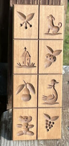 CARVED DILLON WOODEN Springerle Butter Cookie Stamp Press Mold 8 Different