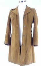 Old Navy brown suede jacket trench length Women's Small button up coat soft