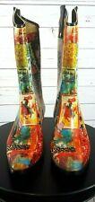 RainBOPS Women's Graphic Art Cowgirl Style Rain Boot Size 7