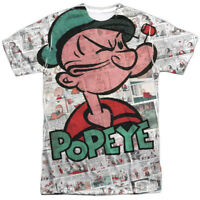 Authentic Popeye Comic Strip TV Show Sublimation Allover Front T-shirt top
