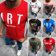 T-Shirt Kurzarm Shirt Aufdruck U-Neck Fitness Slim Fit Herren OZONEE 13732 MIX