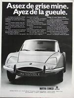 PUBLICITÉ DE PRESSE 1971 MATRA 530 LX SIMCA CHRYSLER