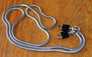 Vintage Smooth Round Stainless Steel Snake Chain Camera Neck Shoulder Strap 70s