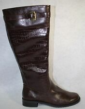 A2 By Aerosoles High Ride Women Brown Croco Knee High Boot US Shoe Size 8.5 M