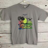 Miami Beach Florida Sunset Tourist Souvenir Shirt Gray sz XL Vtg Single Stitch