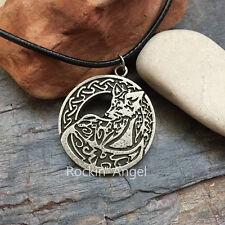 Argento anticato PLT Celtic knotwork Fox Collana con Pendente a Disco Viking Norreno Regalo