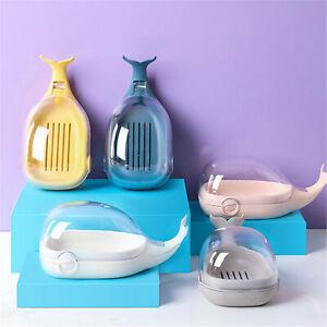 PP Soap Box Kitchen Sponge Holder Fish Shape Soap Dish With Cover Bathroom