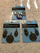 Bead Landing Charms OWLS BIRDS  Lot Of 3 Packages New