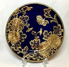 "Vtg NIPPON PLATE Cobalt Blue Heavy Gold Moriage Chrysanthemums 8 3/8"" Oriental"