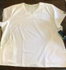 New listing Women's Sporty White Auw 4Xl Mesh Panel Scrubs Top Nwt