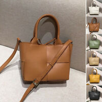Small Real Leather Maxi Woven Tote Bag Crossbody Mini Purse Shoulder Bag 2 Pcs