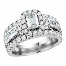 14k White Gold Emerald Diamond Solitaire Halo Bridal Wedding Engagement Ring