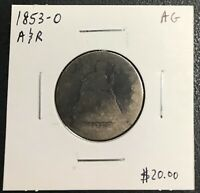 1853-O U.S. LIBERTY SEATED QUARTER ~ AG CONDITION! $2.95 MAX SHIPPING! C1602