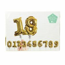 GOLD PARTY CUPCAKE CAKE BIRTHDAY NUMBERS TOPPERS BALLOON 0 1 2 3 4 5 6 7 8 9 SET