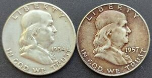 1954-P & 1957-D Franklin Half Dollars Two Coin Lot Ungraded, Uncertified