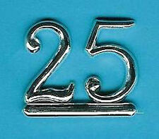 SILVER 25 NUMBERS / NUMERALS (Pk of 6) CAKE DECORATION / CARD MAKING