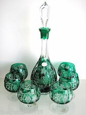 AJKA MARSALA EMERALD CASED CUT TO CLEAR CRYSTAL DECANTER & 6 BRANDY SNIFTERS
