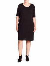 NWT Eileen Fisher Crewneck Merino Jersey Sweater Dress Plus Size 1X