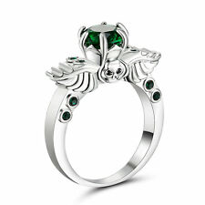 Size 9 Green Emerald CZ Engagement Ring 10KT White Gold Plated Wedding Band