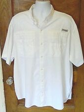 EUC Columbia PFG Professional Fishing Gear Vented Omni Shade White XL Shirt S/S
