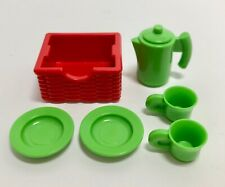 Playmobil Modern Take Along Dollhouse 5167 Coffee Pot Cups Dishes Red Basket