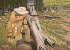 Jim Lang Surprise Attack Trapper Rifle Original Oil Painting on Canvas 18x24