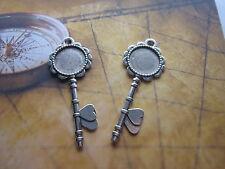 2 pièces argent antique clés cabochon paramètres mariage vintage rond plateau