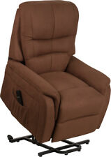 Contemporary Remote Powered Lift Recliner in Brown Microfiber with Side Pocket