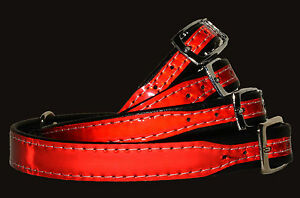 RED REFLECTIVE Gloss Dog Puppy COLLAR Black Eco Leather Padded Handmade